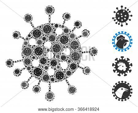 Mosaic Sars Virus Constructed From Sars Virus Icons In Random Sizes And Color Hues. Vector Viral Par