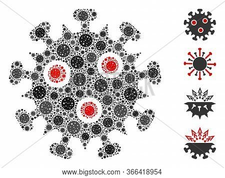 Collage Sars Virus Constructed From Flu Virus Items In Random Sizes And Color Hues. Vector Infection