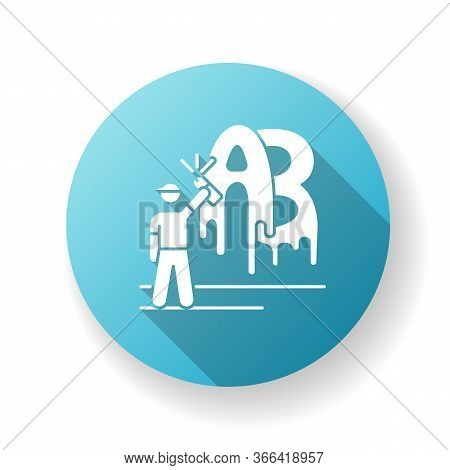 Street Art Blue Flat Design Long Shadow Glyph Icon. Contemporary Cultural Movement. Modern Painting