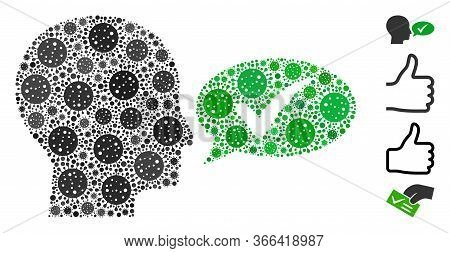 Mosaic Say Yes Designed From Flu Virus Icons In Variable Sizes And Color Hues. Vector Infection Icon