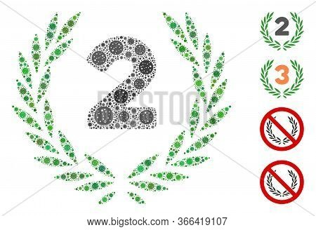 Collage Second Laurel Wreath Designed From Sars Virus Icons In Different Sizes And Color Hues. Vecto