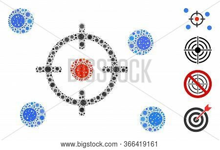 Mosaic Selective Constructed From Covid-2019 Virus Icons In Random Sizes And Color Hues. Vector Vira