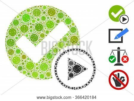 Collage Start Of Validity Designed From Flu Virus Icons In Variable Sizes And Color Hues. Vector Vir