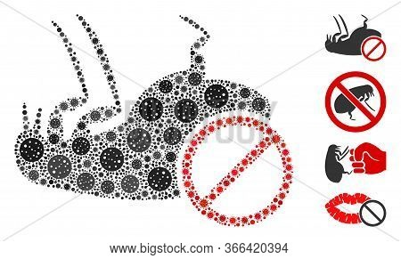 Mosaic Stop Flea United From Coronavirus Items In Random Sizes And Color Hues. Vector Infection Item