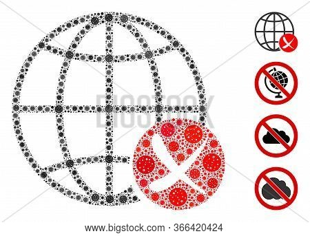 Mosaic Stop Global Web Composed Of Sars Virus Icons In Variable Sizes And Color Hues. Vector Pathoge