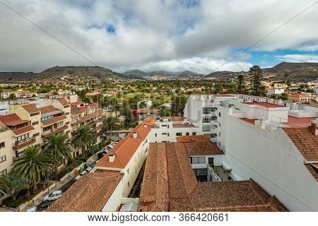 The Top Of Highest Church Tower. Aerial View Of The Historic Town Of San Cristobal De La Laguna In T