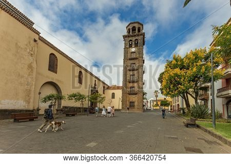 La Laguna, Tenerife, Spain - October 14, 2019: Bell Tower And Observation Deck. The Iglesia De Conce