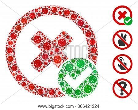 Mosaic True Negative Designed From Sars Virus Icons In Various Sizes And Color Hues. Vector Viral El