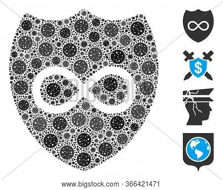 Mosaic Unlimited Shield Organized From Sars Virus Items In Random Sizes And Color Hues. Vector Viral