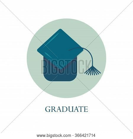 Graduate Student Hat With A Tassel In A Circle. Toss The Hat Up After Graduation. Flat Vector Illust
