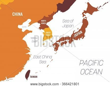 East Asia Map - Brown Orange Hue Colored On Dark Background. High Detailed Political Map Of Eastern