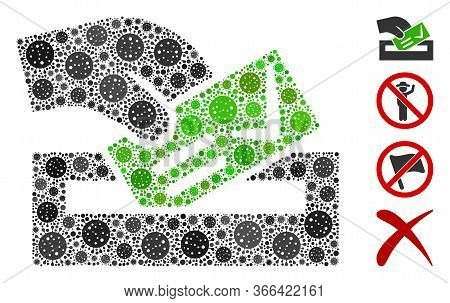 Collage Vote Here United From Flu Virus Items In Different Sizes And Color Hues. Vector Infection Ic