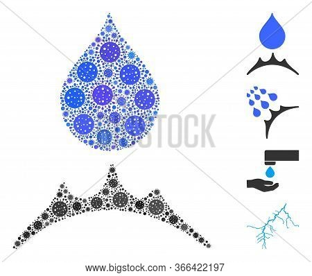 Mosaic Water Resistent Composed Of Coronavirus Icons In Different Sizes And Color Hues. Vector Viral