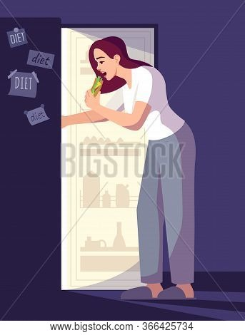 Woman Breaking Diet Semi Flat Rgb Color Vector Illustration. Girl Eating Snacks At Night Isolated Ca