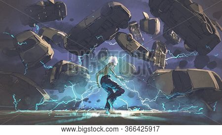 Electric Man Use Evil Powers To Destroy Cars, Digital Art Style, Illustration Painting