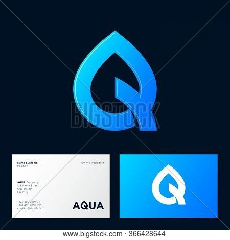 Aqua Logo. Spa Therapy Emblem. Letter Q Like A Drop Of Water. Identity. Emblem For Cosmetics Or Clot