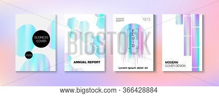 Holographic Gradient Vector Background. Rainbow Magazine Print Template. Liquid Holo Bright Trendy L