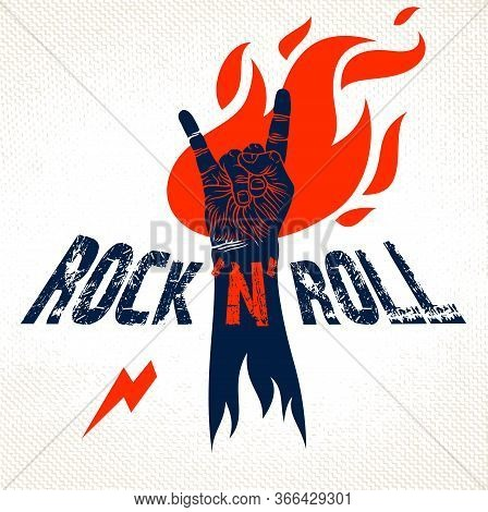 Rock Hand Sign On Fire, Hot Music Rock And Roll Gesture In Flames, Hard Rock Festival Concert Or Clu