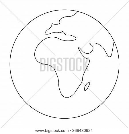Simplified Outline Earth Globe With Map Of World Focused On Africa. Vector Illustration