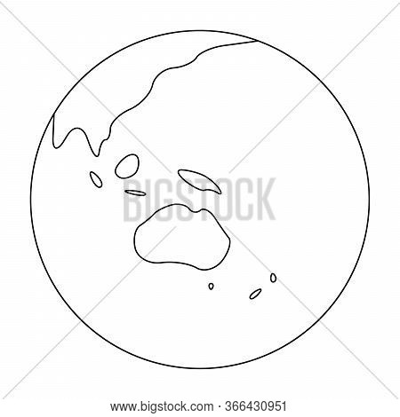 Simplified Outline Earth Globe With Map Of World Focused On Australia And Oceania. Vector Illustrati