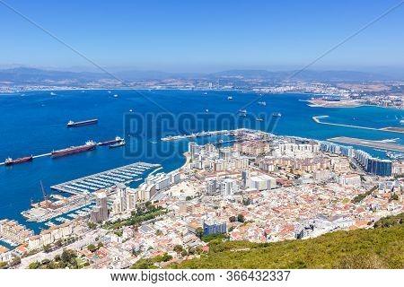 Gibraltar Landscape Port Mediterranean Sea Travel Traveling Town Overview