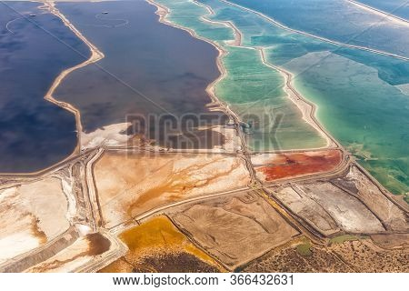Dead Sea Israel Landscape Nature Salt Extraction From Above Aerial View Jordan