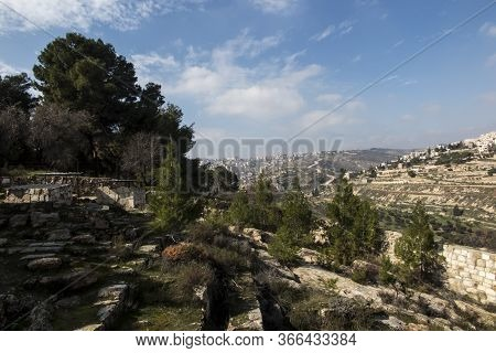 Panorama From Shepherd's Field, Beit Sahour, East Of Bethlehem, Palestinian Territories