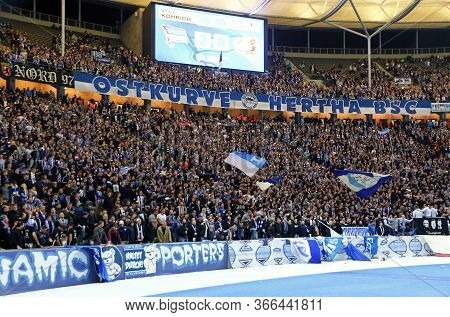 Berlin, Germany - September 20, 2017: Fan Tribunes Of Olympiastadion In Berlin (olympic Stadium) Cro