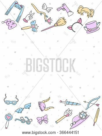 Layout Piece Of Paper With Vector Flat Illustration In Form Set Accessories, Cosplay Props With Empt