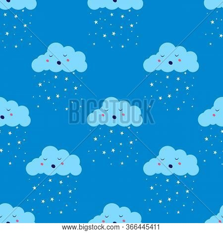 Cloud With Star Rain Or Snow Seamless Pattern. Limitless Blue Background With Flat Cute Air Weather