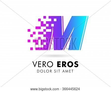 Letter M Logo Design Template. Letter M Logo In Pixel Motion Style With Gradient Color.