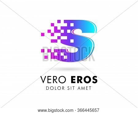 Letter S Logo Design Template. Letter S Logo In Pixel Motion Style With Gradient Color.