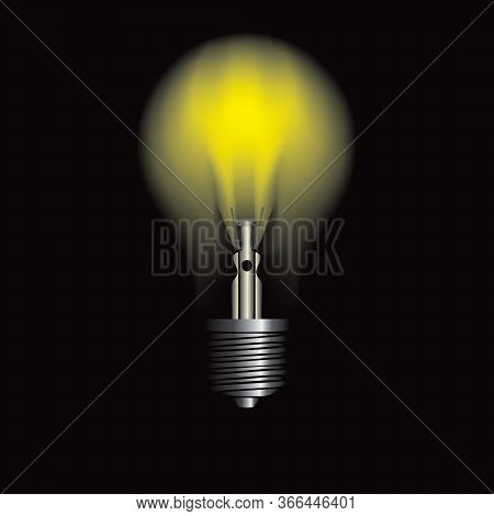 Black Background, Luminous Classic Light Bulb. Vector Illustration.