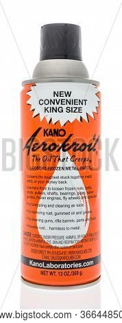 Winneconne,  Wi - 14 May 2020:  A Bottle Of Kano Areo Kroil Penetrating Oil On An Isolated Backgroun