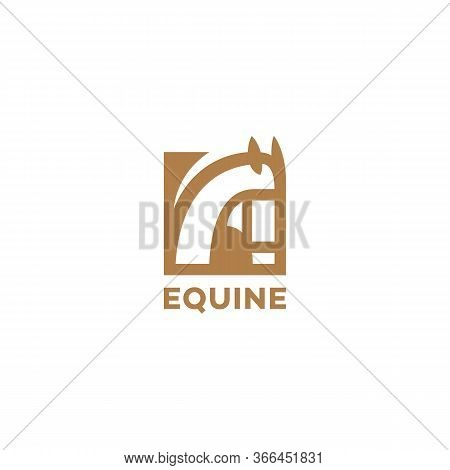 Golden Equine Logo Design Template With A Horse Head. Vector Illustration.
