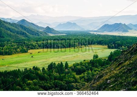 Immense Distances With Field And Forest Near Countryside. Wonderful Mountain Land. Great Mountains I