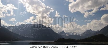 Kananaskis Country, Beautiful Landscape With Blue Waters And Bright Skies