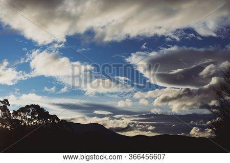 Beautiful Clouds Over The Mountains In Tasmania Shot Near Kunanyi