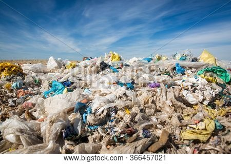 Pollution Concept Garbage Pile In Trash, Waste Dump Or A Landfill, Waste From Household, Global Warn
