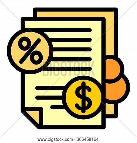 Deposit Money Papers Icon. Outline Deposit Money Papers Vector Icon For Web Design Isolated On White