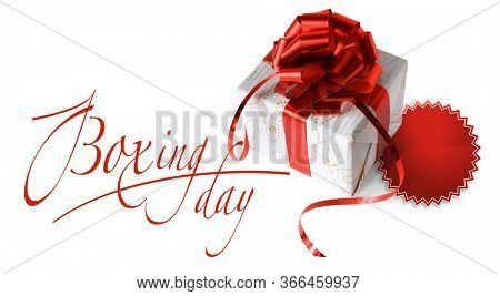 Boxing Day. Banner with Boxing Day lettering text, gift packages with red ribbon.