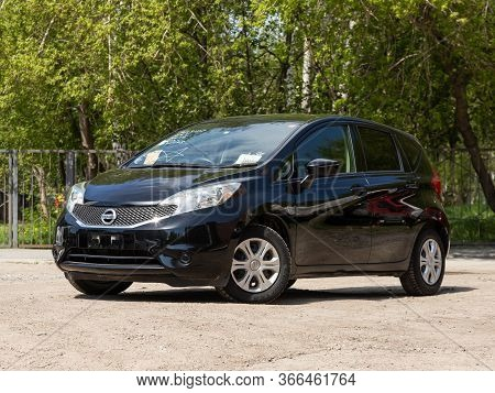 Novosibirsk/ Russia - May 03 2020: Black Nissan Note,  Front View.  Modern Hatchback Made In Japan O