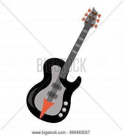 Electric Guitar Flat Vector Illustration. Rock Music Instrument. Flat Illustration Electric Guitar.