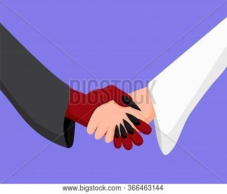 Angel And Demon Handshake. Deal Between Enemies