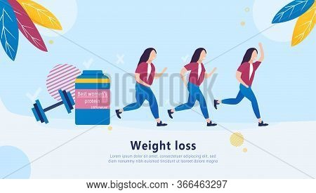 Girl Weight Loss Progress Concept. Sports Nutrition. Diet. Running. Protein Program For Women. Ad Ba