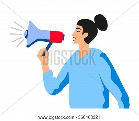 A Woman Shouts In Megaphone. Lady Boss With Bullhorn. Manager Or Team Leader With Megaphone. Isolate