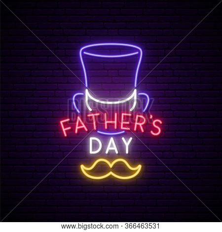 Father's Day Neon Signboard. Bright Glowing Greeting Banner For Father's Day Celebration. Stock Vect
