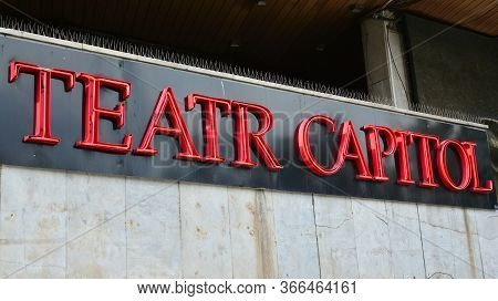 Warsaw, Poland. 15 May 2020. Sign Teatr Capitol. Company Signboard Teatr Capitol.