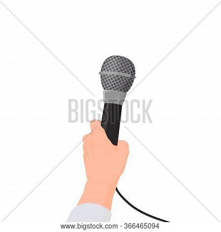 Hand Holds Microphone. First Person Interview Holding