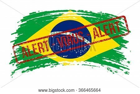 Brazilia Torn Flag With A Stamp With The Words Alert Virus, Vector